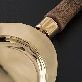 Piattello per comunione ottone manico legno s3