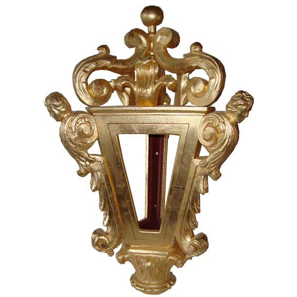 Lanterne pour procession bois taillé feuille d'or 3