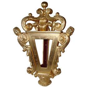 Lanterne pour procession bois taillé feuille d'or s1