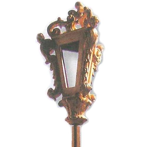 Lanterne pour procession bois taillé feuille d'or 2