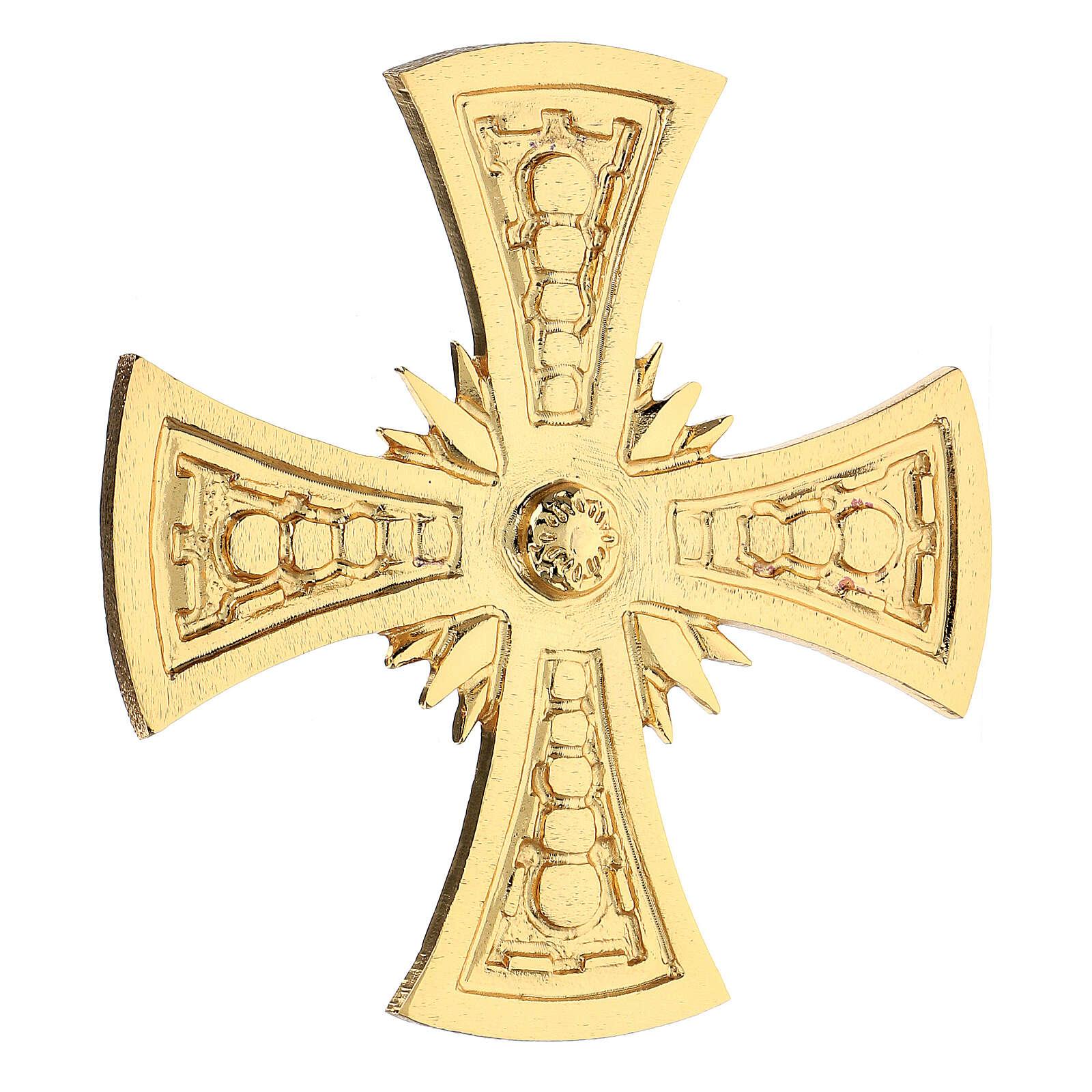 Croce per consacrazione ottone fuso dorato 20x20 cm 3