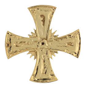 Croce per consacrazione ottone fuso dorato 20x20 cm s4