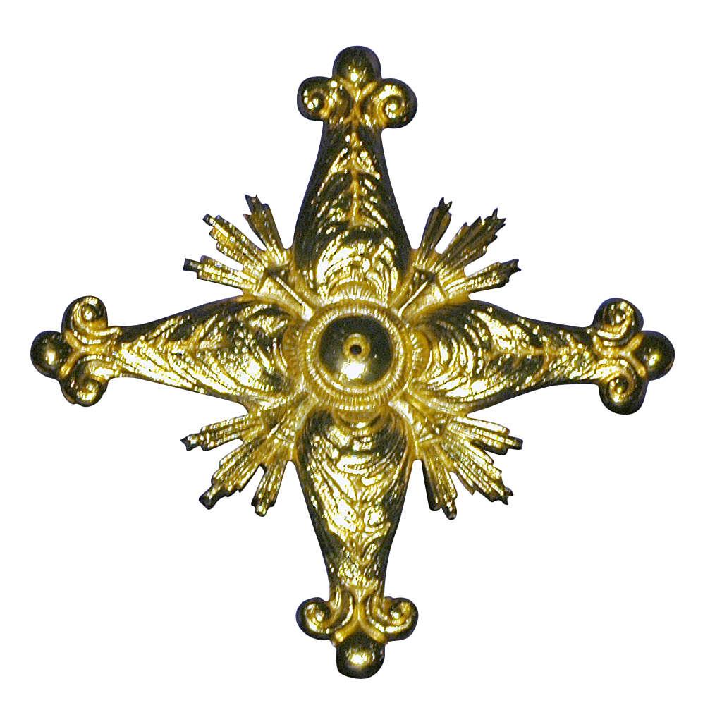 Croce per consacrazione in ottone fuso dorato 27x27 cm 3