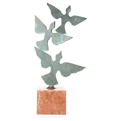 Composition colombes base marbre 55cm