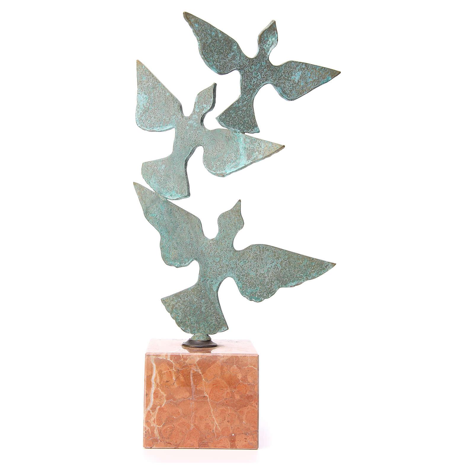 Composizione colombe base marmo 55 cm 4