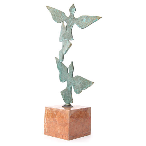 Composizione colombe base marmo 55 cm 2
