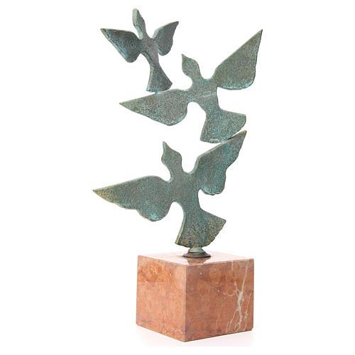 Composizione colombe base marmo 55 cm 3