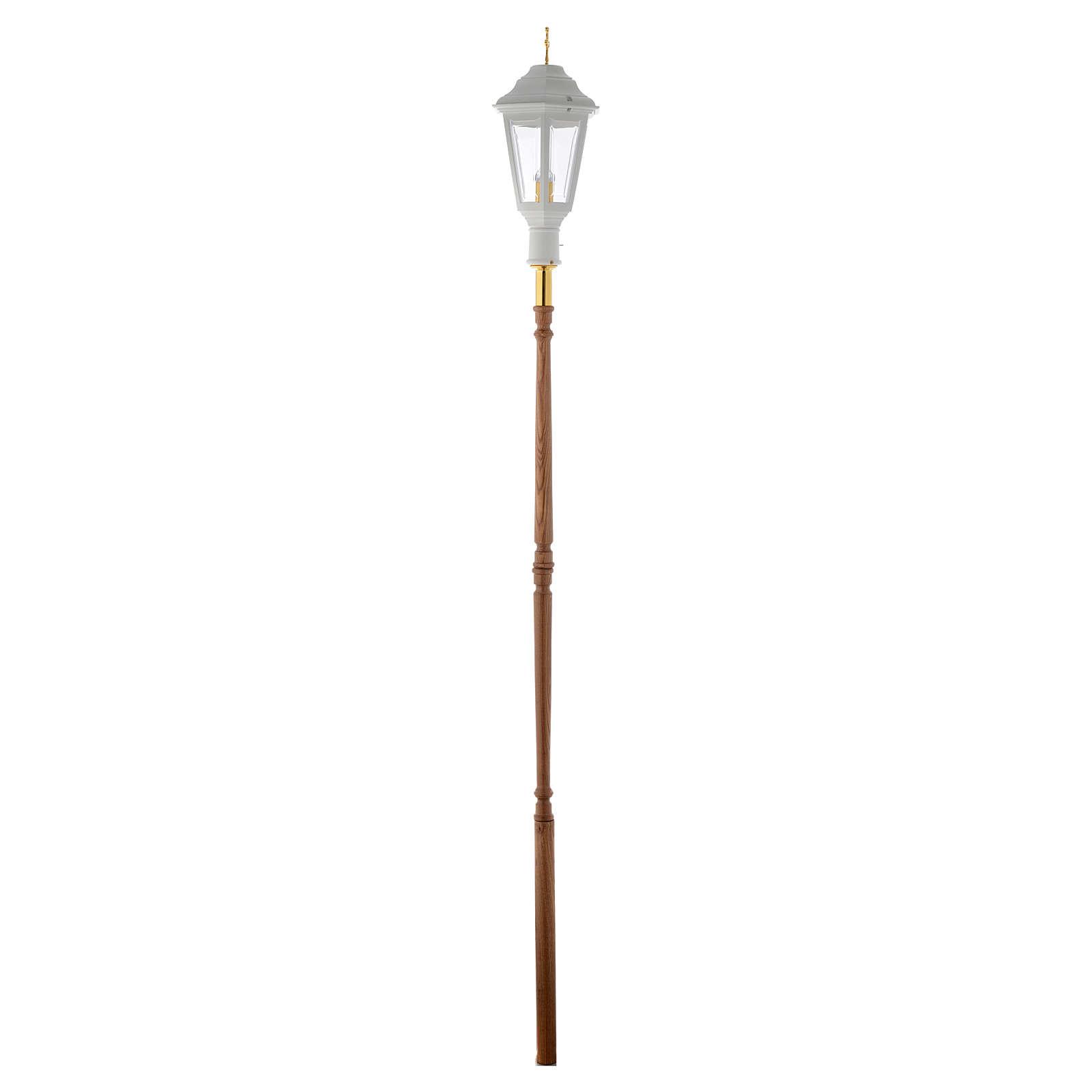 Lampione da processione bianco manico legno 2 mt 3