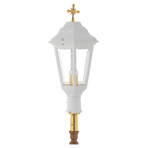 Lampione da processione bianco manico legno 2 mt 2