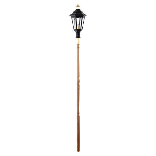 Lampione da processione nero manico legno 2 mt 5