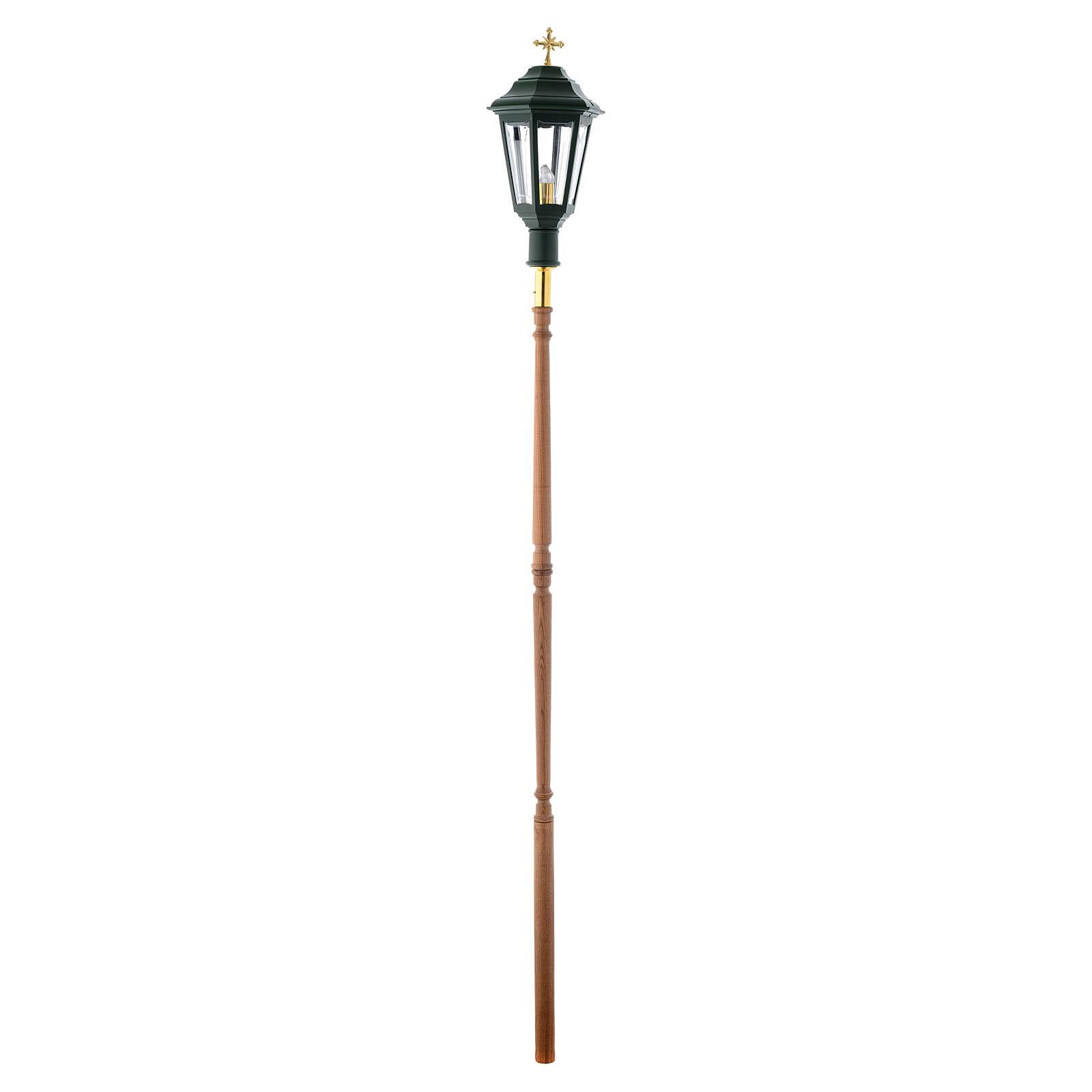 Lampione da processione verde manico legno 2 mt 3