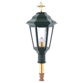 Lampione da processione verde manico legno 2 mt s1