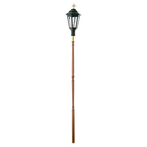 Lampione da processione verde manico legno 2 mt 5