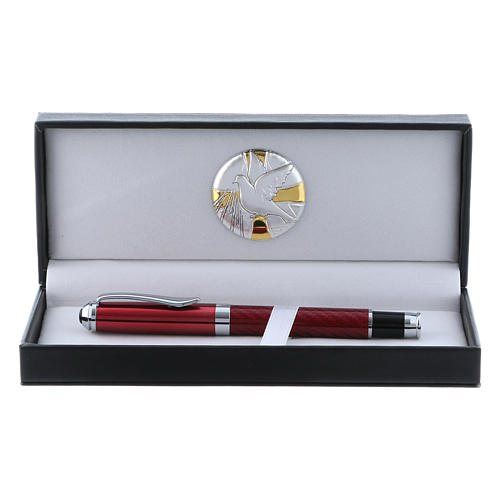 Pencil case with alluminium plate Holy Spirit dove and red roller pen 1