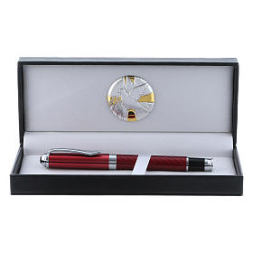 Estuche con placa de aluminio con paloma y bolígrafo roller rojo   s1