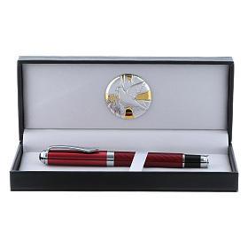 Étui avec plaque aluminium Colombe et stylo roller rouge s1