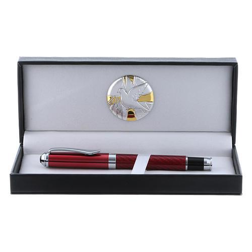 Étui avec plaque aluminium Colombe et stylo roller rouge 1