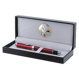 Pencil case with alluminium plate Holy Spirit dove and red roller pen s2