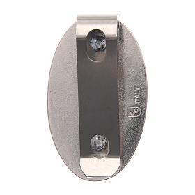 Clipe Medalha Milagrosa para carro em metal e resina corada 5x3 cm