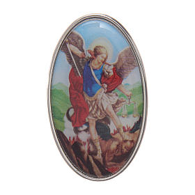 Saint Micheal auto clip in metal and coloured resin 5x3 cm s1