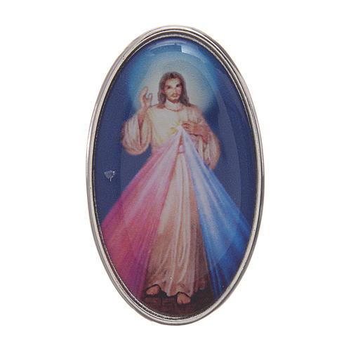 Clip Gesù Misericordioso per auto in metallo e resina colorata 5X3 cm 1