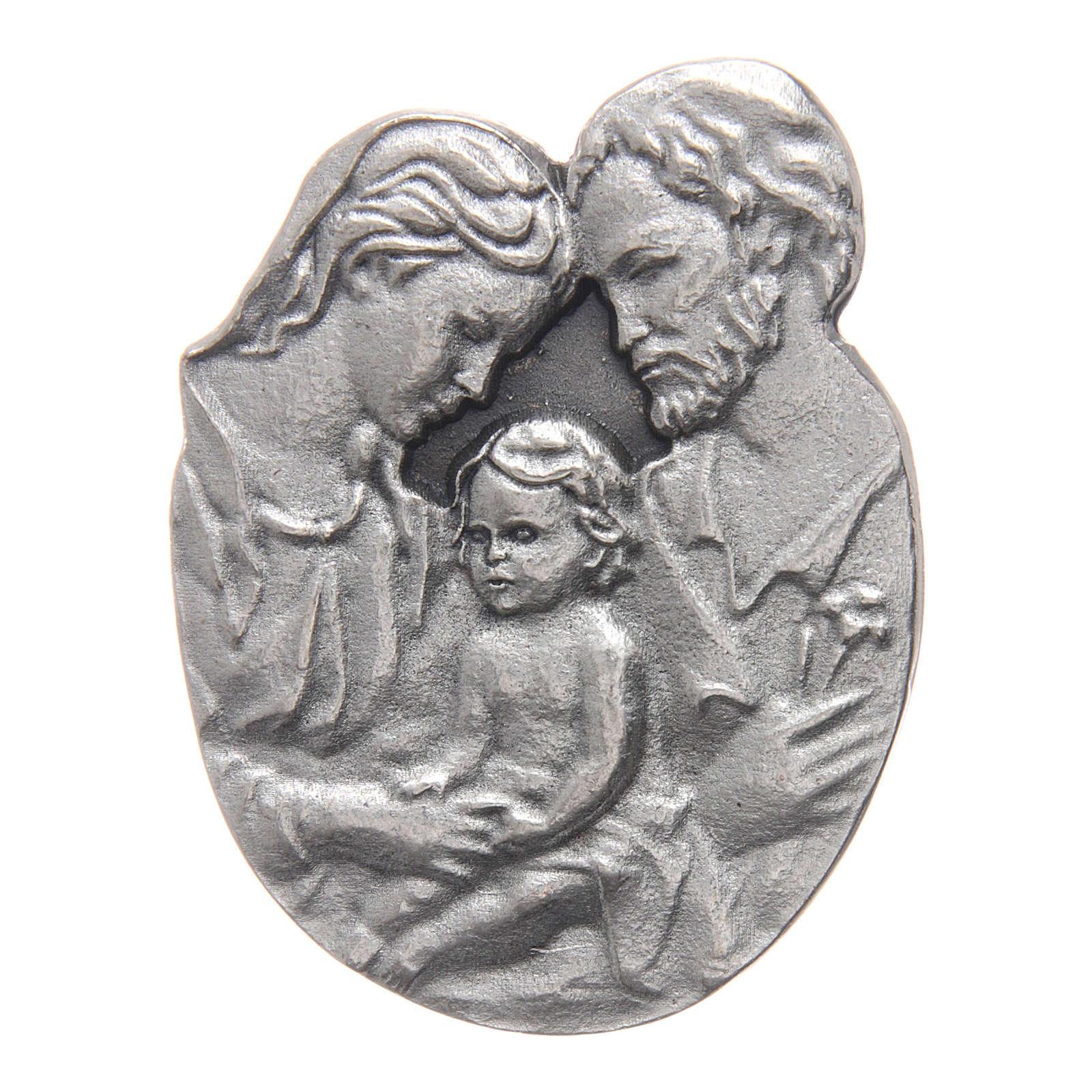 Gadżet do auta Klip Święta Rodzina metal posrebrzany relief 5x3 cm 4