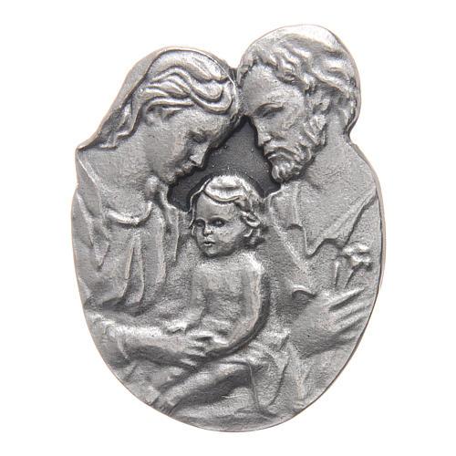 Gadżet do auta Klip Święta Rodzina metal posrebrzany relief 5x3 cm 1