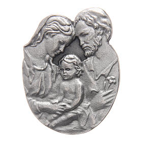 Holy Family auto clip in metal and coloured resin 5x3 cm s1
