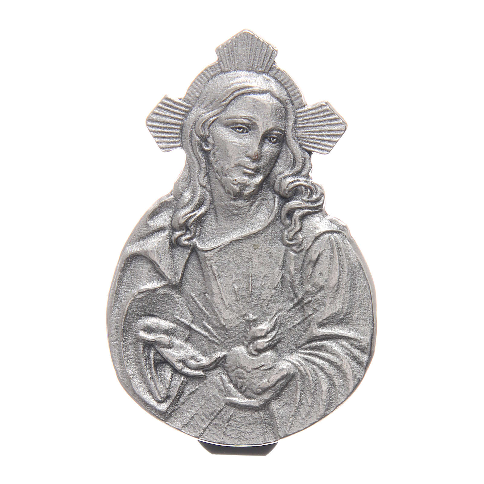 Clip Sagrado Corazón de Jesús para coche de metal y resina coloreada 5x3 cm 4