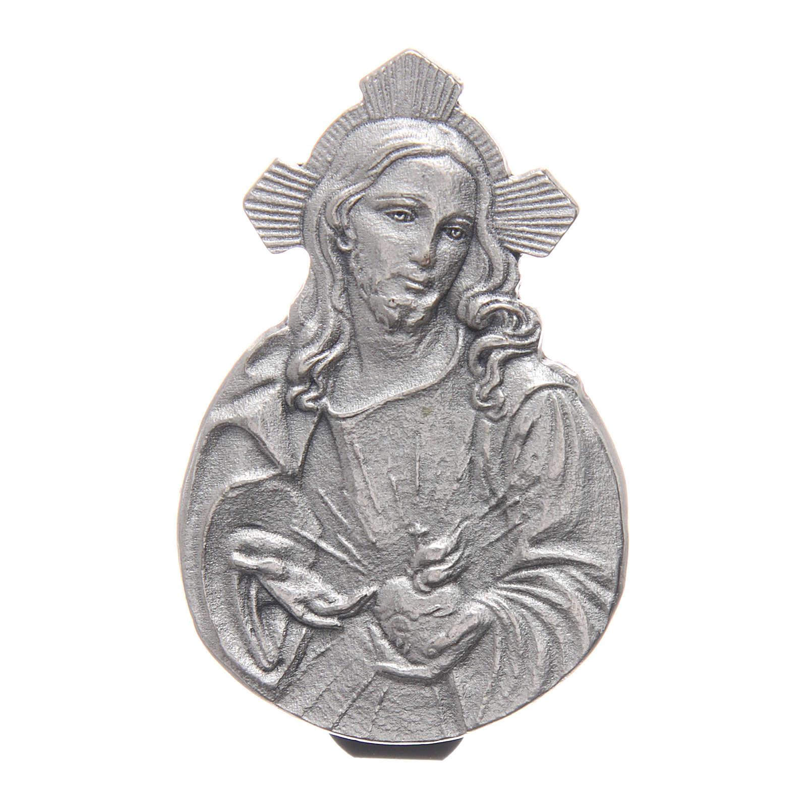 Gadżet do auta Klip Najświętsze Serce Jezusa metal posrebrzany relief 5x3 cm 4