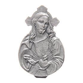 Gadżet do auta Klip Najświętsze Serce Jezusa metal posrebrzany relief 5x3 cm s1