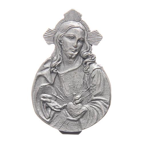Gadżet do auta Klip Najświętsze Serce Jezusa metal posrebrzany relief 5x3 cm 1