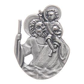 Clip per auto San Cristoforo in metallo 5X3 cm s1