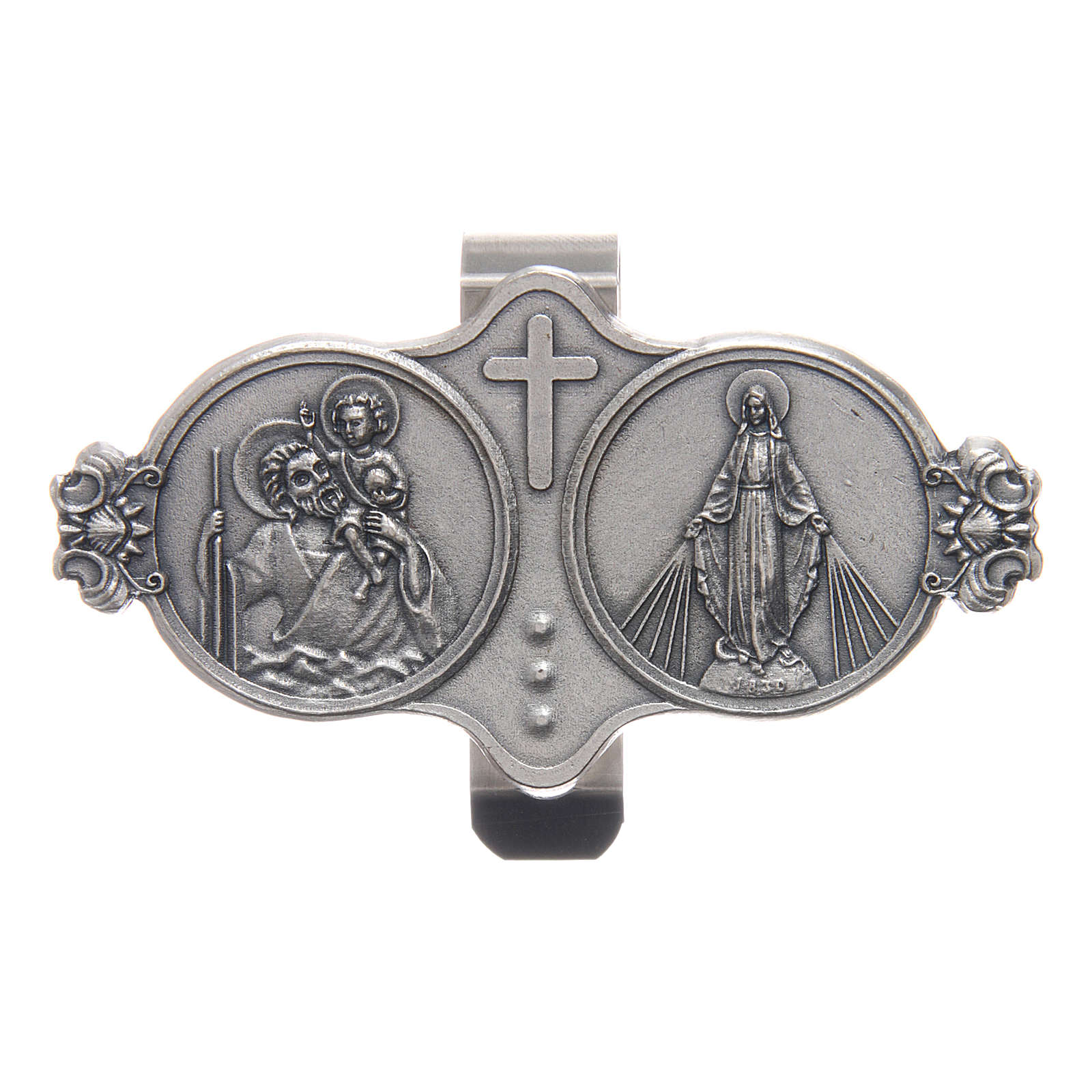 Saint Christopher and Our Lady of Miracles auto clip 3X5 cm 4