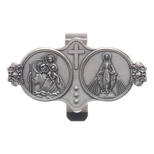Clip pour auto St Christophe et Vierge Miraculeuse en métal 3x5 cm 1