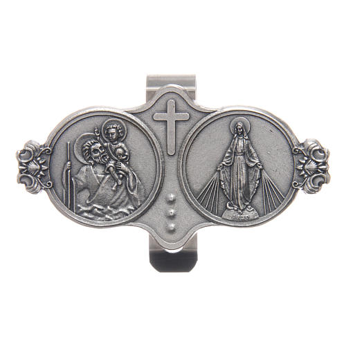 Saint Christopher and Our Lady of Miracles auto clip 3X5 cm 1