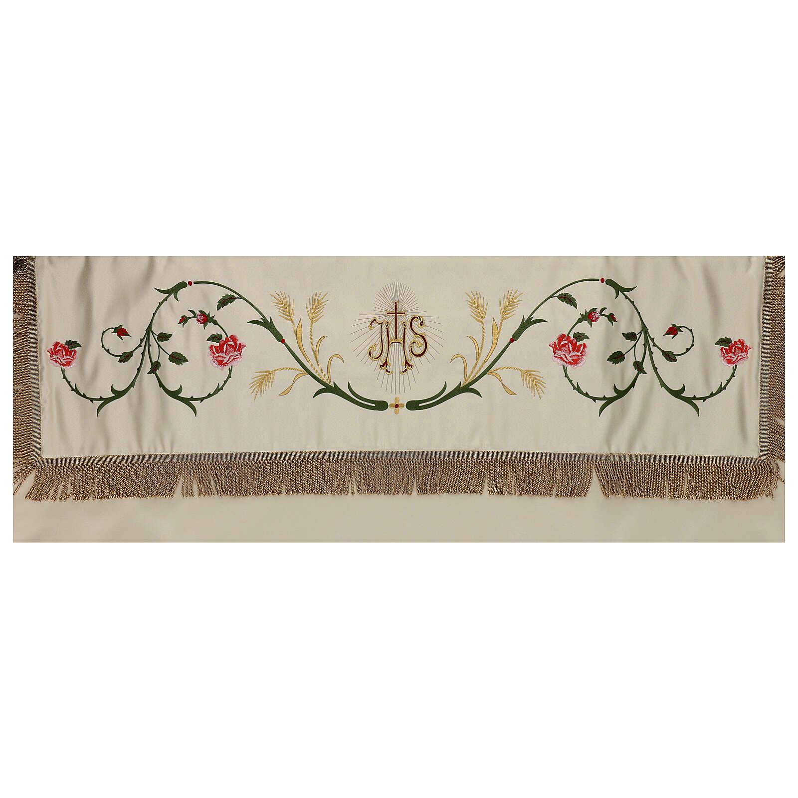 Baldacchino processionale 130x160 IHS fiori e spighe 3