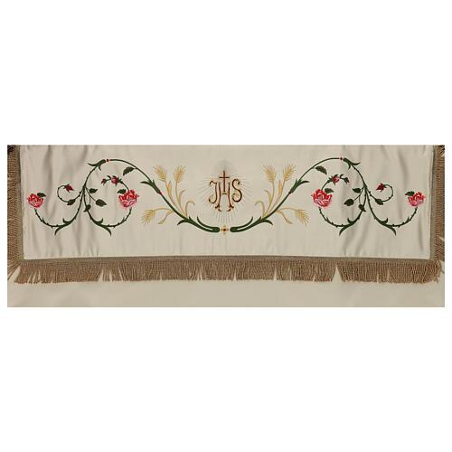 Baldacchino processionale 130x160 IHS fiori e spighe 4