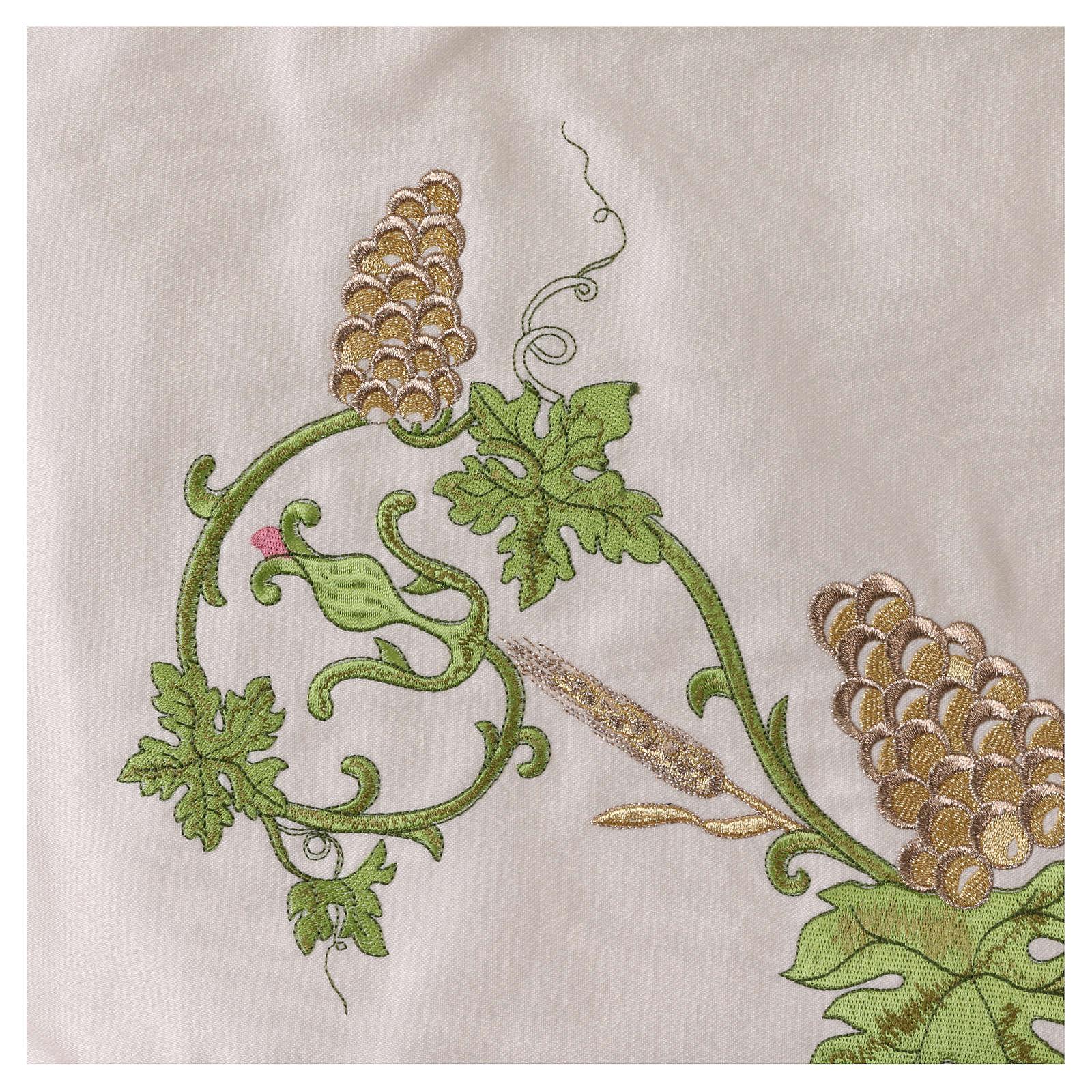 Baldaquino procesional 130x160 IHS flores y uva 3