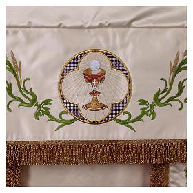 Baldaquino procesional 130x160 IHS flores y uva s2