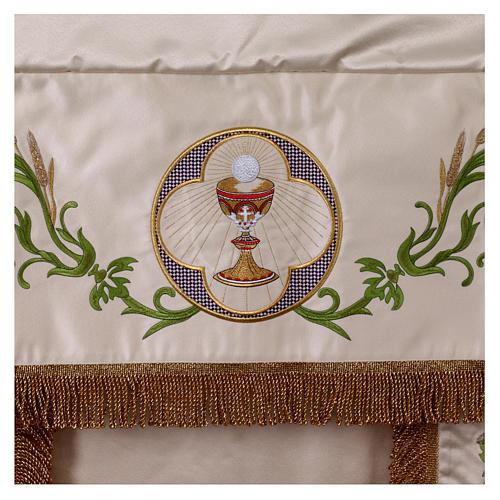 Baldaquino procesional 130x160 IHS flores y uva 2