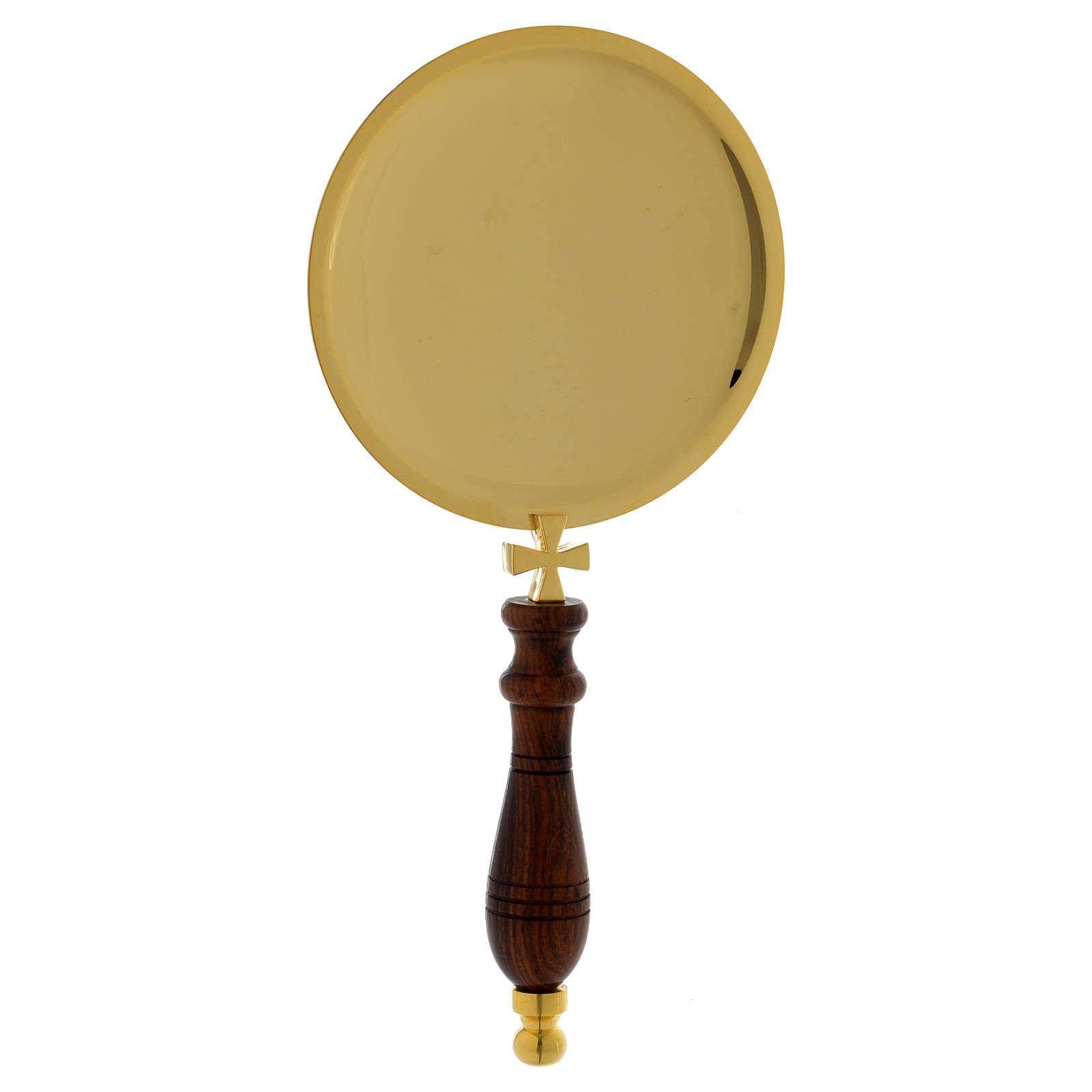 Piattino per comunione ottone dorato manico legno 3