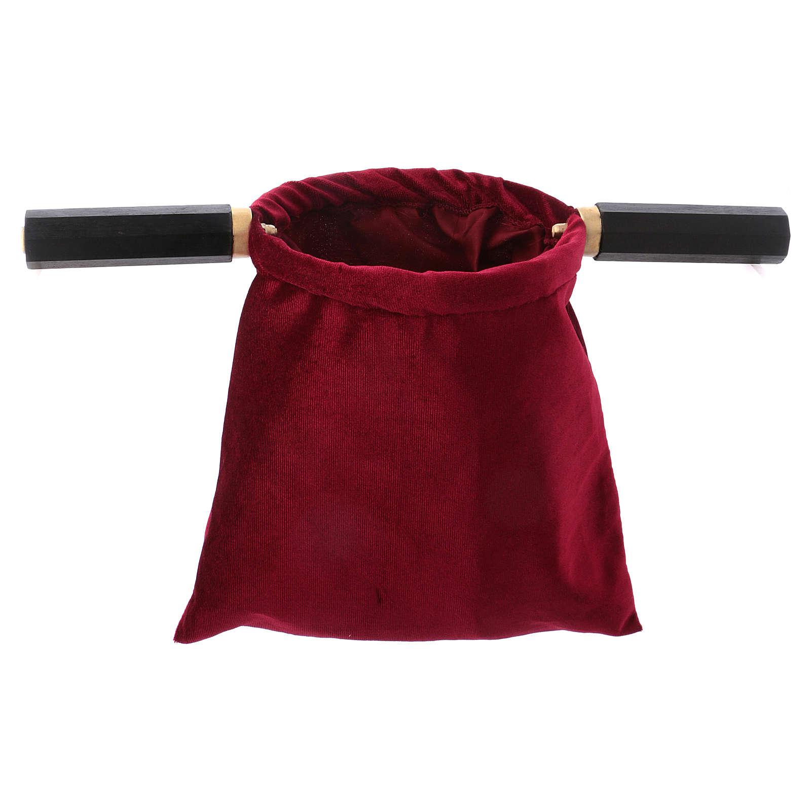 Bolsa para ofrendas (limosna) terciopelo rojo con dos mangos 3