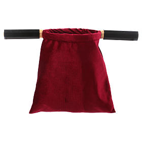 Bolsa para ofrendas (limosna) terciopelo rojo con dos mangos s2
