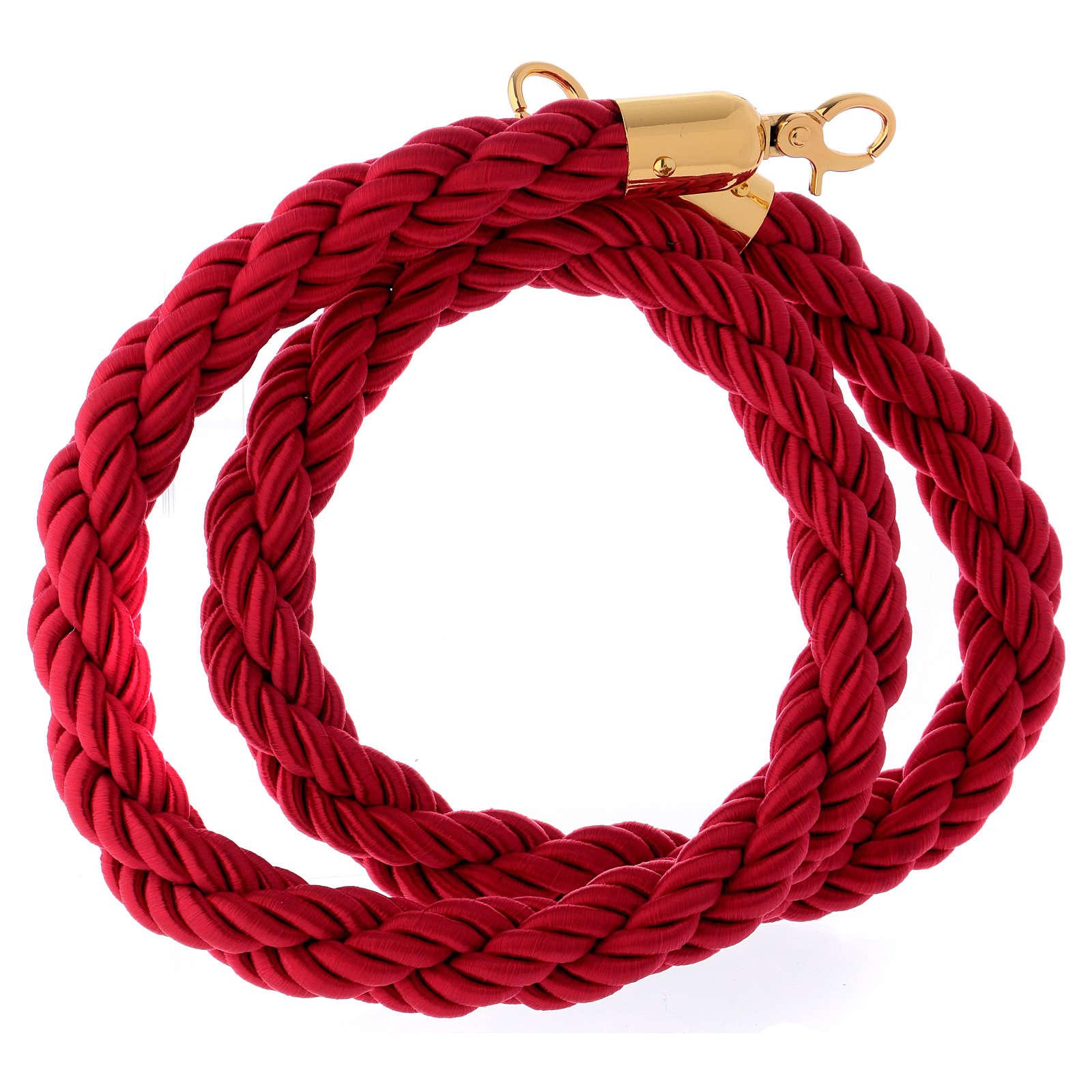 Cordon bordeaux tressé triple avec crochets 150 cm pour poteau AV000102 3