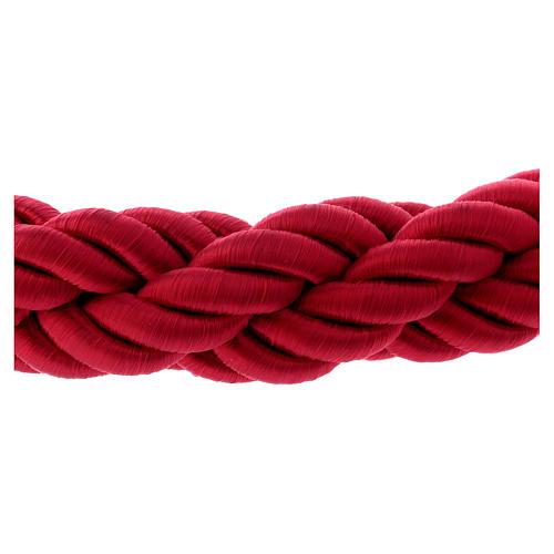 Cordon bordeaux tressé triple avec crochets 150 cm pour poteau AV000102 4