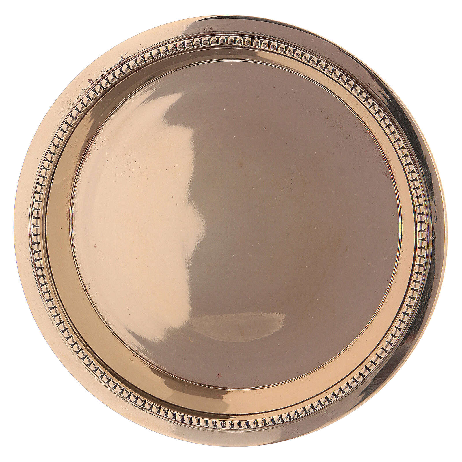 Saucer made of shiny golden brass 11 cm 3
