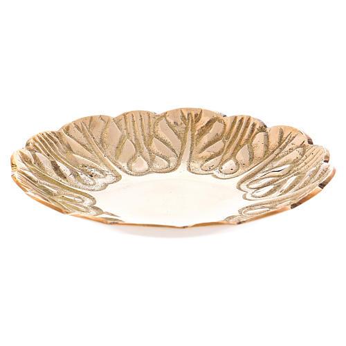 Assiette laiton doré vieilli décorations en relief diam. 12 cm 1
