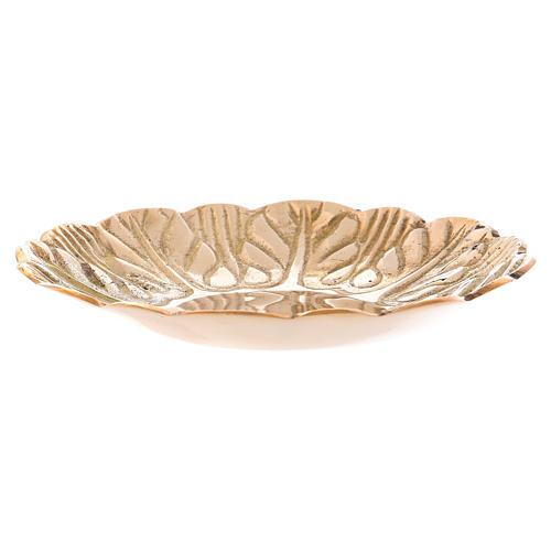 Assiette laiton doré vieilli décorations en relief diam. 12 cm 2