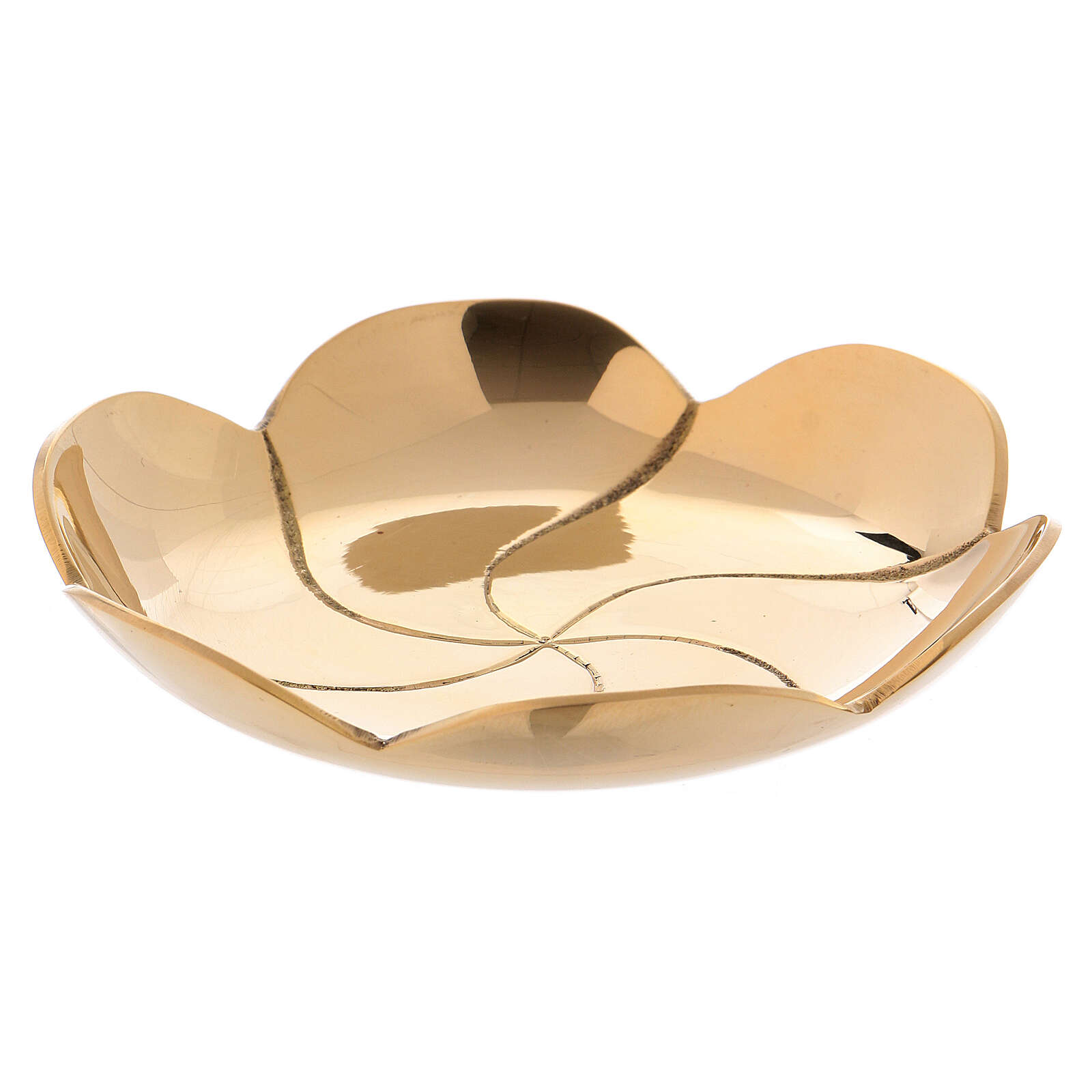 Saucer with a diameter of 9.5 cm made of shiny golden brass 3